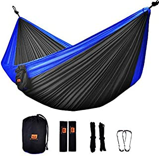 Camping Hammock - ONTODEX Double Parachute Hammock with Tree Straps for Travel,  Backpacking,  Hiking,  Camping and Outdoors Activities