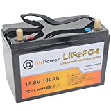 12V 100AH Deep Cycle LiFePO4 Battery - Lithium Iron Phosphate Battery 12V, Built-in 100A BMS, 7000+ Cycles Perfect for RV, Solar, Marine, Overland, Off-Grid, Home Storage (12V 100AH)