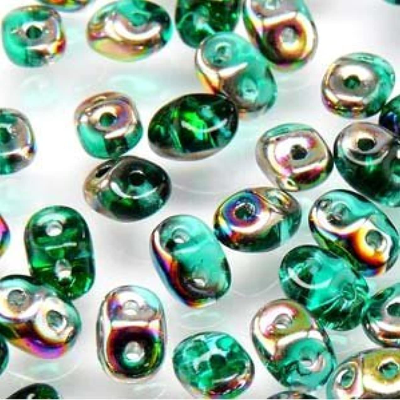 Czech SuperDuo Two-Hole Seed Crystal Beads 5.5x2.5mm Emerald Vitrail 22gram