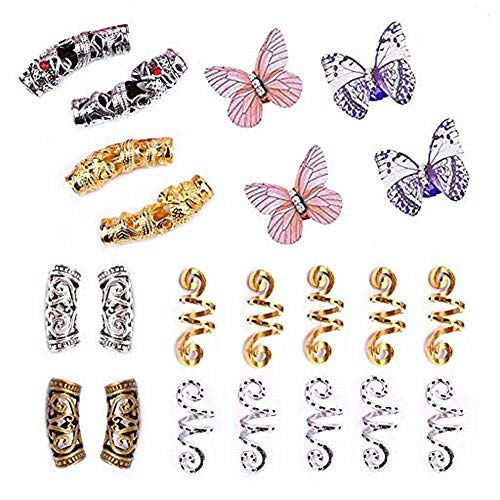 Dsoar Hair Tube Beads Spiral Hair Coils and Butterfly Cuff Beads For Dreadlocks & Braids,22 Pcs Hair Jewelry For Braiding Hair Decoration,Dreadlock Accessories With Storage Box