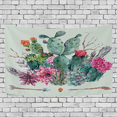 BAOQIN Tapisserie Cactus Cacti Succulents Tapestry Flowers Tropical Plant Tapestry Wall Hanging Hippie Bohemian Tapestries for Bedroom Living Room Home Dorm Decor Wall Art 80 X 60 Inch