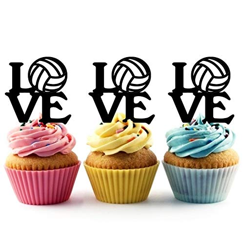 TA0756 Love Volleyball Text Silhouette Party Wedding Birthday Acrylic Cupcake Toppers Decor 10 pcs