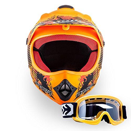 """ARMOR Helmets® AKC-49 Set """"Limited Orange"""" · Kinder Cross-Helm · Motorrad-Helm MX Cross-Helm MTB BMX Cross-Bike Downhill Off-Road Enduro-Helm Sport · DOT Schnellverschluss Tasche L (57-58cm)"""