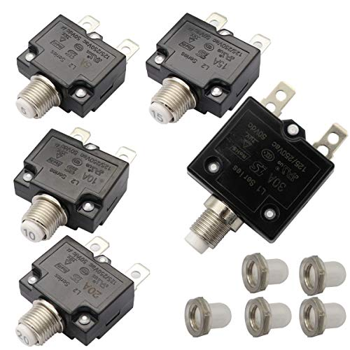 T Tocas 5pcs Push Button Reset 5A 10A 15A 20A 30A Circuit Breakers with Quick Connect Terminals and Waterproof Button Cap