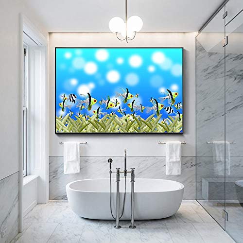 Lunderliny Colorful Fishes Underwater World Modern Home Decor Wall Art Pictures For Living Room Hd Canvas Paintings 70x100cm