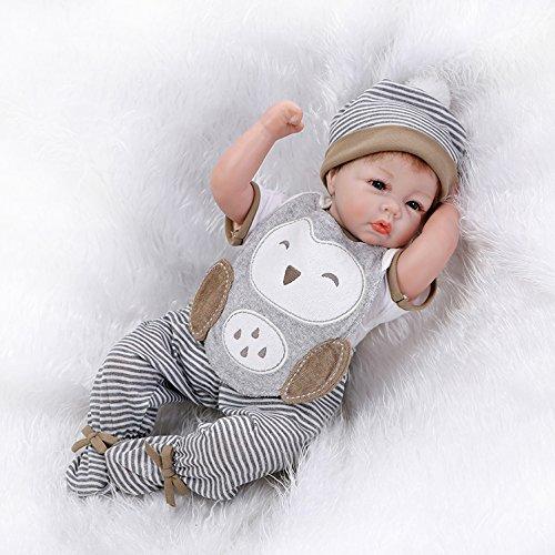 Nicery 22inch Renacido de la Reborn muñeca de Silicona Suave Vinilo 55cm magnética Boca Realista Niño Niña de Juguete Gris Animal Reborn Baby Reborn Doll