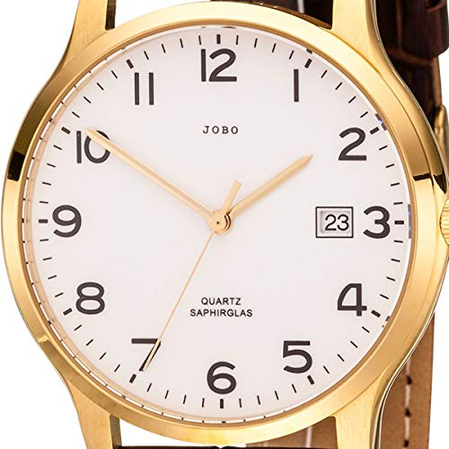 JOBO Herren Armbanduhr Quarz Analog Edelstahl vergoldet Lederband braun Datum