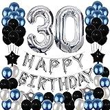 Yoart 30. Geburtstag Dekorationen Blau & Silber Schwarz Geburtstag Party Dekoration Luftballons für Männer Frauen Party Supplies Folie Sterne Luftballons 80 Stück