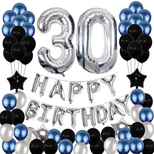 Yoart 30. Geburtstag Dekorationen Blau und Silber Schwarz Geburtstag Party Dekoration Luftballons für Männer Frauen Party Supplies Folie Sterne Luftballons 80 Stück