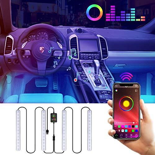 Auto LED Innenbeleuchtung, Zorara RGB Auto LED Innenbeleuchtung mit APP Steuerbare, Auto LED Fußraumbeleuchtung Fußraum Ambientebeleuchtung Auto Innenraum Strip Atmosphäre Licht mit USB Port (RGB)