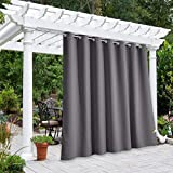 NICETOWN Outdoor Curtain for Patio Waterproof Extra Wide 100', Blackout Vertical Blinds Thermal Insulated Stainless Steer Grommet Indoor Outdoor Divider for Public Space, Grey, 1 Piece, 84' L