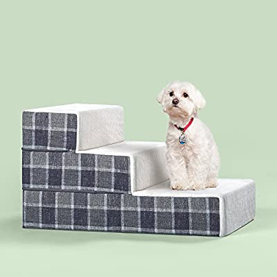 Zinus Cozy Pet Stairs/Pet Ramp/Pet Ladder/Grey Checked, Small