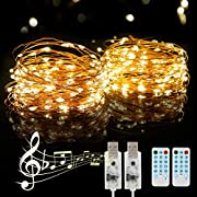 PHYSEN USB String Light 2 Pack 39FT/12M 120 LEDs USB Plug-in Fairy Lights Warm White for Xmas, Wedding, Party, Bedroom, Garden, Outdoor/Indoor Wall Decorations, IP65 Waterproof -Silver Wire
