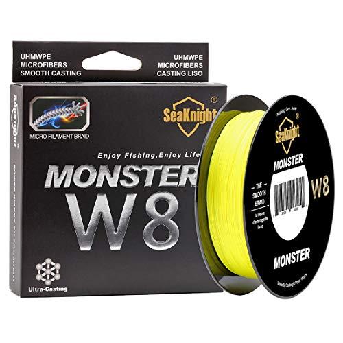 SeaKnight Hilo de Pescar Monster W8 Trenzado de 8 Hilos, 300/500 m, súper Suave, de Polietileno, Hilo Trenzado de multifilamentos para Pesca en mar, 6,8 kg - 45,4 kg