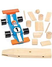 Baker Ross Pinta Tu Propio Coche de Carreras de Madera (paquete de 2) kits de manualidades para niños para montar, diseñar y decorar