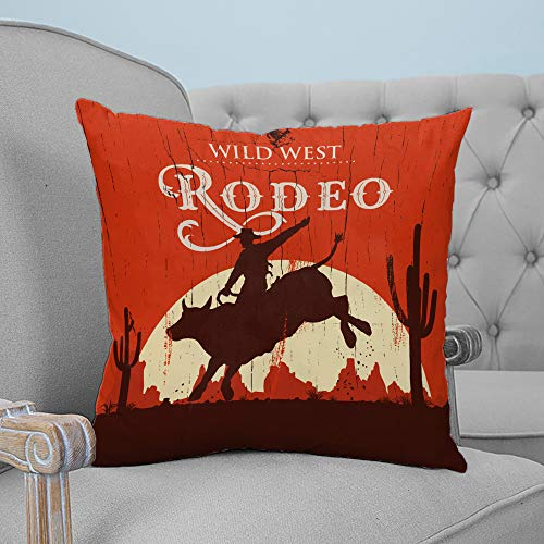Couch Pillow Covers 26x26 inches Soft Throw Pillow Cover Vintage Square Cushions Cases Shams Pillowcases for Sofa Bedroom Car Rodeo Cowboy Riding Bull Wooden Old Sign Western Wilderness at Sunset