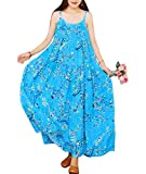 YESNO Women Casual Loose Bohemian Floral Print Dresses Spaghetti Strap Long Maxi Summer Beach Swing Dress XS-5X E75 (3XL, As Picture44-Blue)