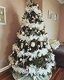 RASHION 5PCS x 2M Christmas Tree White Feather Boa - Fluffy Garland Boa Ribbon Strip for Xmas Tree Party Decor