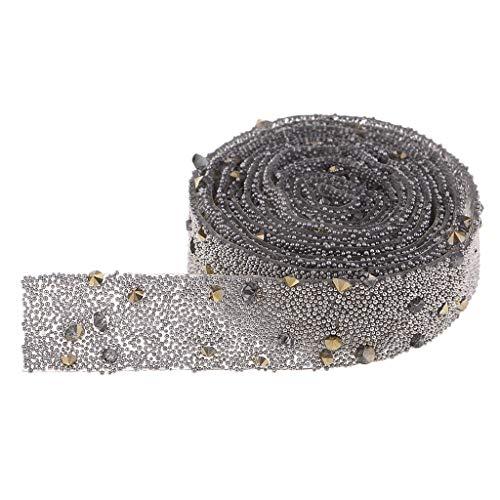 Baoblaze 1 Yarda Hoja de Etiqueta Engomada de Rhinestone Cristalino Cinta de 15mm Tela Decorativa de Artesanía