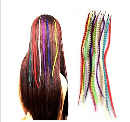 Extensiones de pelo de pluma grizzly con microperlas. 10, 20, 30 o 50 unidades, Set of 50 Feathers
