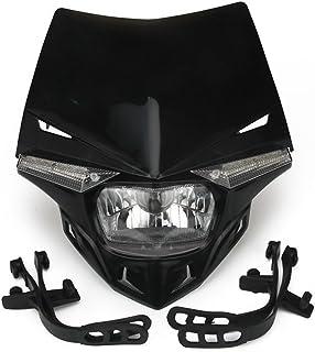 JFG RACING S2 12V 35W Universal Motorcycle Headlight Head Lamp Led Lights For For Honda Kawasaki Suzukki Yamaha Dirt Pit Bike ATV - Black