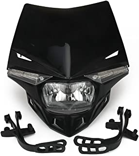 JFG RACING S2 12V 35W Universal Motorcycle Headlight Head Lamp Led Lights For For Honda Kawasaki Suzukki Yamaha Dirt Pit Bike ATV - Black