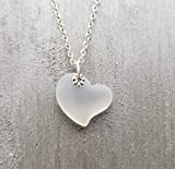 Handmade in Hawaii, Moonstone sea glass heart necklace,'June Birthstone', (Hawaii Gift Wrapped, Customizable Gift Message)