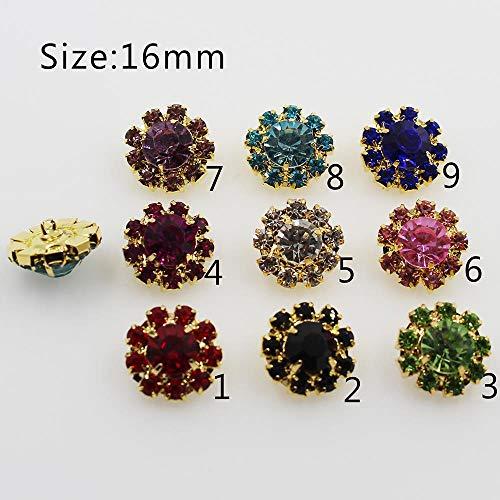 N/A 10 Stks/16 mm gouden metalen strass knoppen voor naaien kleding ambachtelijke benodigdheden decoratie strass