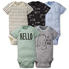Includes 5 onesies, Weave Type: Knit Cotton rib, cotton/rayon rib Variety of colors/patterns Art is screen-print and puff print