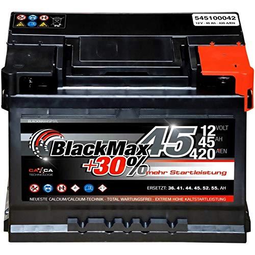 Autobatterie 12V 45Ah 420A/EN BlackMax PKW-Batterie statt 36Ah 41Ah 43Ah 44 Ah 46Ah