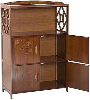 Xiaolin Gabinete De Almacenamiento De Madera Maciza De Múltiples Capas Estanteria De Libros Aparador De Bambú Closet Múlti...