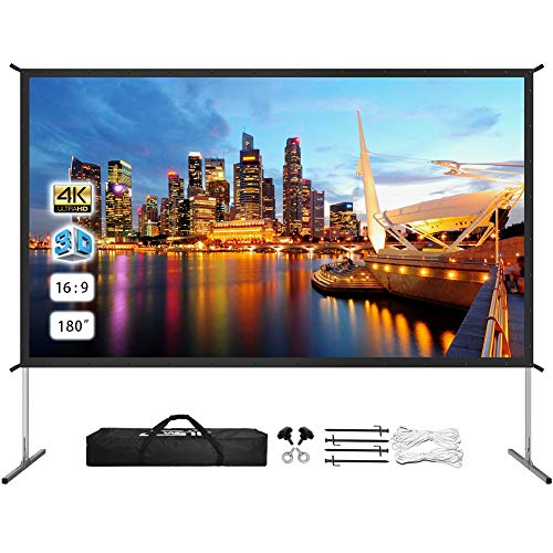 Projector Screen with Stand 180 inch, Upgraded Front or Rear Projection 180in 4K 16:9 HD, Portable Projector Screen for Outdoor/Indoor Home Theater Backyard Movie Gaming Office School Presentation