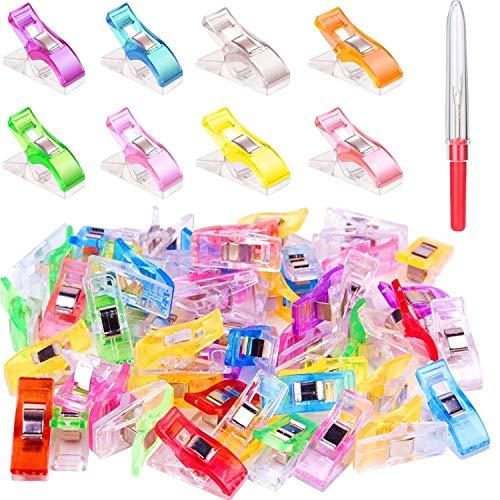 Clips de Costura, 50 Pcs Craft Clips Craft Accesorios Paquete de Clips Multiuso de Variados Colores, Accesorio de Costura, Manualidades y Tejidos, Varios Colores, Sewing Clips Wonder Clips