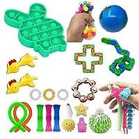 感覚のフィジットのおもちゃ、通気伸縮玩具セット、スクイーズ音楽、ベントエダマメ、DIYの減圧描画ロープRubikの立方体、子供のためのストレスの軽食のおもちゃ (Color : 24 sets of 00 groups)