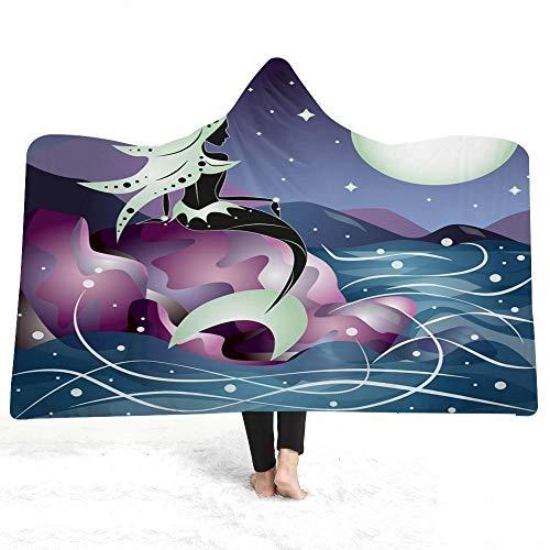 Manta con Capucha 150x200 cm Sirena Blanca Impresión en Color 3D Lana Super Suave Manta Caliente de Tejido Sherpa, Suave y cálida para Interior, Camping, sofá y sillón reclinable