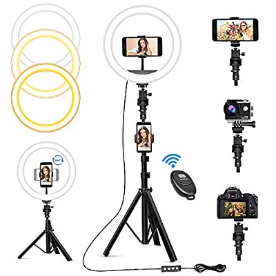 """10"""" Selfie Ring Light with 63"""" Tripod Stand & 3 Phone Holders, Dimmable Led Camera Ringlight for Live Streaming, YouTube, Video, Makeup, Photography, Compatible with iPhone Android (Upgraded) from Zuukoo"""