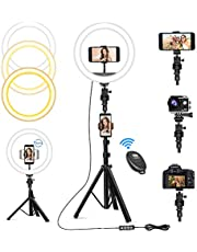"""10"""" Selfie Ring Light with 63"""" Tripod Stand & 3 Phone Holders, Dimmable Led Camera Ringlight for Live Streaming, YouTube, Video, Makeup, Photography, Compatible with iPhone Android (Upgraded)"""