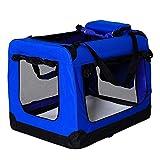 dibea Bolsa de Transporte para perros gatos box caja plegable (M) 60x42x44 cm Azul