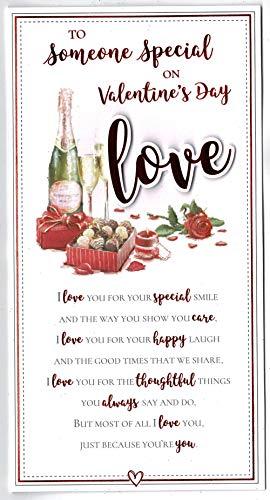 Iemand speciale Valentijnsdagkaart met wijn, chocolade en sentiment thema