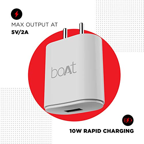 Boat WCD 10W Rapid Charger with Smart IC Protection, Auto Detection, Corrosion Resistant Pins & Universal Compatibility(White) (WCD 2A)