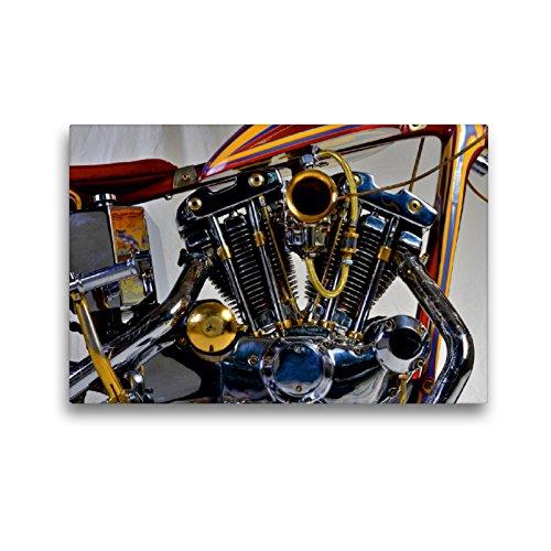 CALVENDO Premium Textil-Leinwand 45 x 30 cm Quer-Format Harley Classic Chopper, Leinwanddruck von Ingo Laue