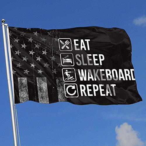N / A Decorative Garden Flags,Piraten Flagge,Outdoor Artificial Flag,Yard Flagge Banner,Werbeflagge,Abgenutzte Amerikanische Flagge Essen Schlaf Wakeboard Wiederholen Sie 3X5 Ft Flagge