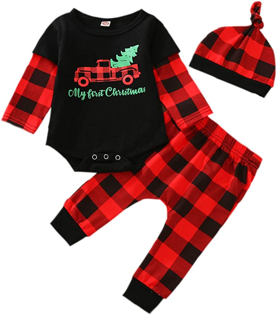 Newborn Baby Girl Boy First Christmas Outfit Long Sleeve My 1st Christmas Romper Pants Hat Set Christmas 3PCS Clothes Set