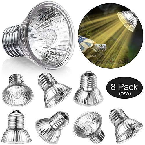 Mudder 8 Confezioni 75 W UVA UVB Lampadina Rettile Calore Lampada Luce Solare Spettro Completo UVA UVB Lampada per Sole Lampada Riscaldamento UV per Tartaruga, Rettile Lucertola e Anfibio