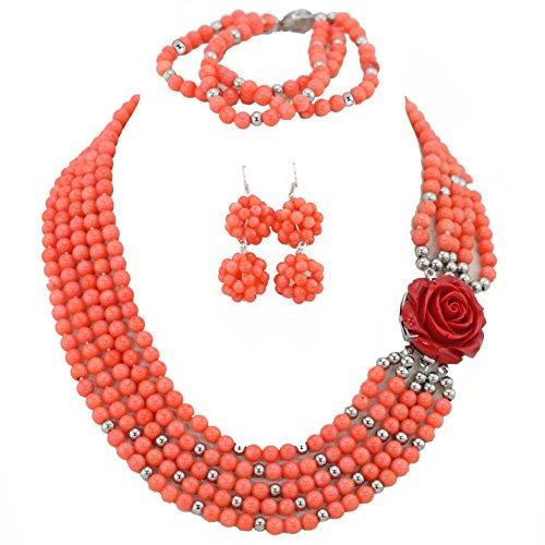AfricanBeads 5-Row naranja mujer fiesta joyas para disfraz de africana de joyería set, novia de joyas collar, pendientes y pulsera