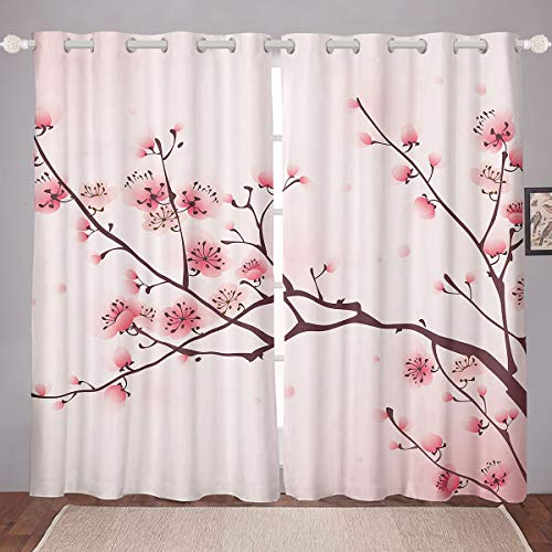 """Erosebridal Cherry Blossoms Window Curtains, Girl Pink Floral Window Drapes, Japanese Spring Window Treatments, Pale Pink Blossom Petal Grommet Curtains for Women,Girly Romantic 52"""" X 84"""",2 Panels"""