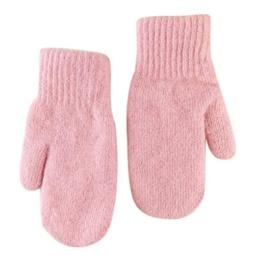 Guantes de invierno de doble capa para dedos completos, color sólido, forro de felpa
