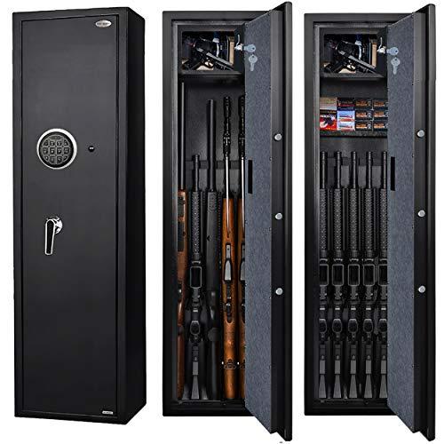 LANGGER V Digital Rifle Safe Large Gun Safe Cabinet, Quick Access Fireproof 5-Gun Cabinet Shotgun Storage Safe Box with Small Lockbox for Handguns