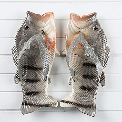 NISHIWOD Zapatillas Casa Chanclas Sandalias Moda Mujer Chanclas Unisex Amantes Zapatillas Dama Suaves Zuecos Diseño De Pescado Eva Zapatos Planos Tallas Grandes 9 Gris