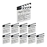 Relaxdays Pack de 10 Claquetas Cine para Escribir, Madera, Blanco, 26 x 30 cm